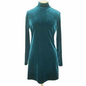 Vtg My Michelle Green Velvet Mock Neck Mini Dress